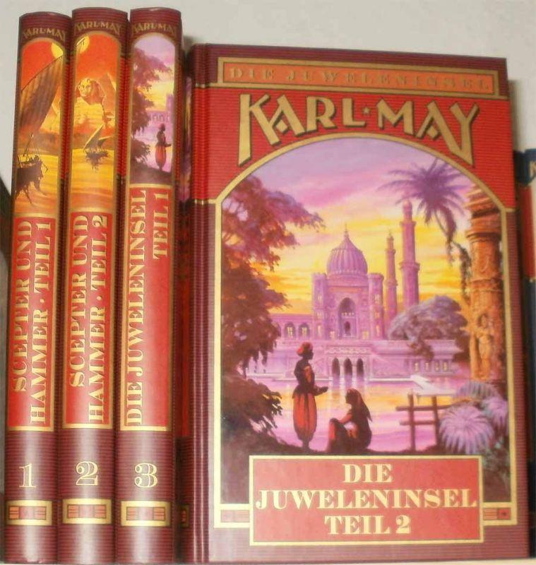May, Karl: Scepter und Hammer / Die Juweleninsel. - Band 1 + Band 2: Scepter und Hammer Teil 1 und 2 / Band 3 + Band 4: Die Juweleninsel Teil 1 und Teil 2.