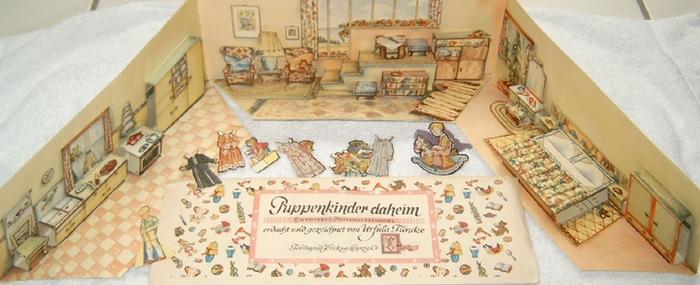 Funcke, Ursula: Puppenkinder daheim - Ein heiteres Puppenstubenspiel erdacht und gezeichnet von Ursula Funcke.