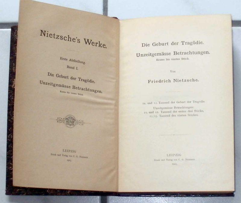 Nietzsche, Friedrich: Nietzsches Werke. - 8 Bände der Abtheilung I (fast KOMPLETT ! - Band 7 fehlt leider), herausgegeben mit Vor- und Nachberichten vom Nietzsche-archiv.