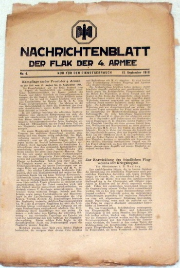 Nachrichtenblatt der Flak der 4. Armee - Nr. 4 vom 15. September 1918