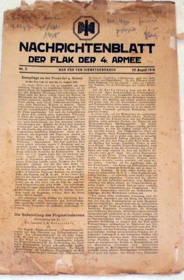 Nachrichtenblatt der Flak der 4. Armee - Nr. 3 vom 20. August 1918