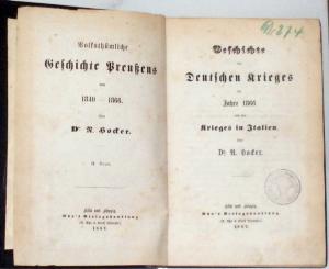 Hocker, N., Dr.: Geschichte des Deutschen Krieges im Jahre 1866 und des Krieges in Italien.