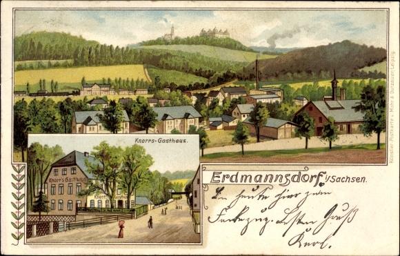 Litho Erdmannsdorf Augustusburg Sachsen, Knorrs Gasthaus, Totalansicht