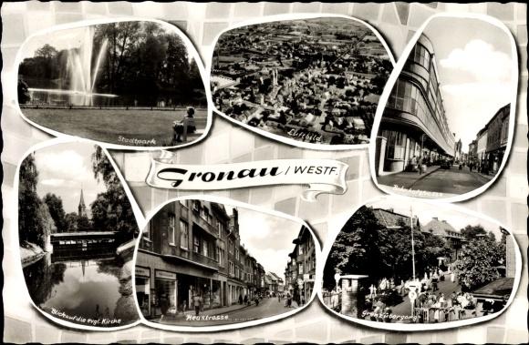 Ak Gronau im Münsterland Westfalen, Neustraße, Stadtpark, Kirche, Grenzübergang