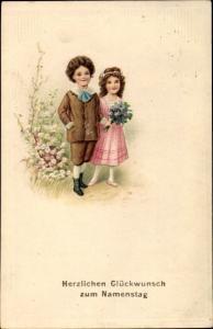 Präge Ak Glückwunsch Namenstag, Zwei Kinder bringen Blumen