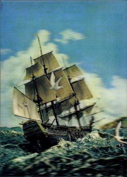 Segelschiffe auf dem meer  3 D Ak Segelschiff auf dem Meer, Land in Sicht, Möwen, Wellen Nr ...