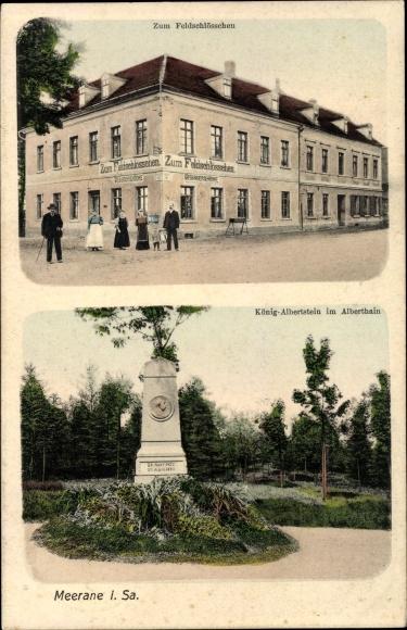 Ak Meerane in Sachsen, Zum Feldschlösschen, König Albertstein im Alberthain