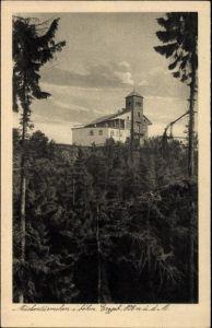 Ak Komáří hůrka Mückentürmchen Osterzgebirge Reg. Aussig, Blick zum Gebäude