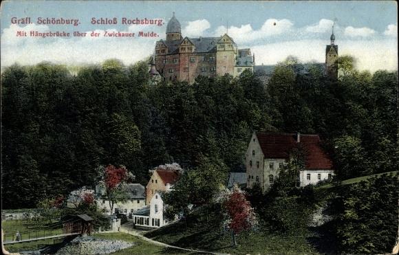 Ak Rochsburg Lunzenau in Sachsen, Gräfl Schönburg, Schloss Rochsburg, Hangebrücke über der Mulde