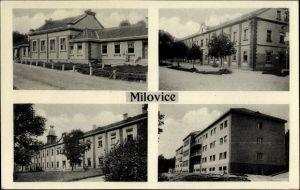 Ak Milovice nad Labem Milowitz Mittelböhmen, Gebäude der Stadt