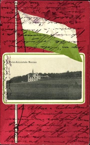 Passepartout Ak Meerane in Sachsen, Blick auf das Ferien Kolonieheim
