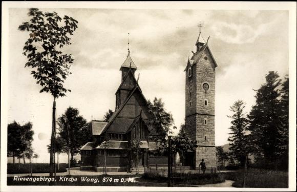 Ak Brückenberg Karpacz Krummhübel Riesengebirge Schlesien, Kirche Wang