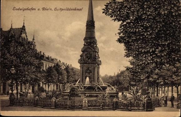 Ak Ludwigshafen am Rhein Rheinland Pfalz, Wasserspiel am Luitpolddenkmal