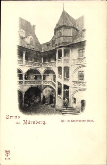 Ak Nürnberg in Mittelfranken Bayern, Hof im Krafftschen Haus