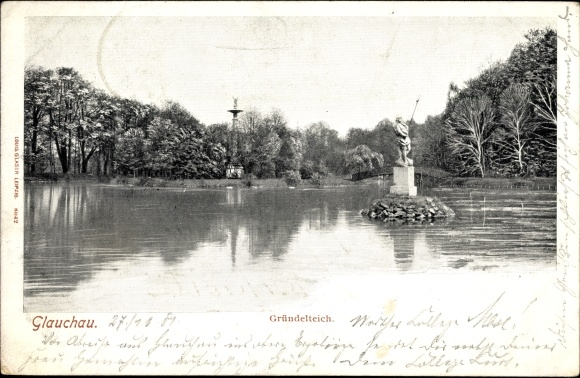 Ak Glauchau an der Zwickauer Mulde in Sachsen, Blick auf den Gründelteich, Statue