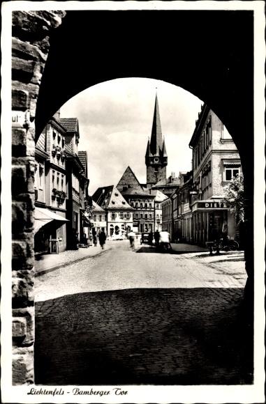 Ak Lichtenfels Blick Durch Das Bamberger Tor Nr 6621711