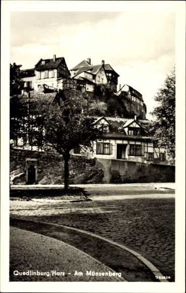 Ak Quedlinburg im Harz, Partie am Münzberg, Fachwerkhäuser