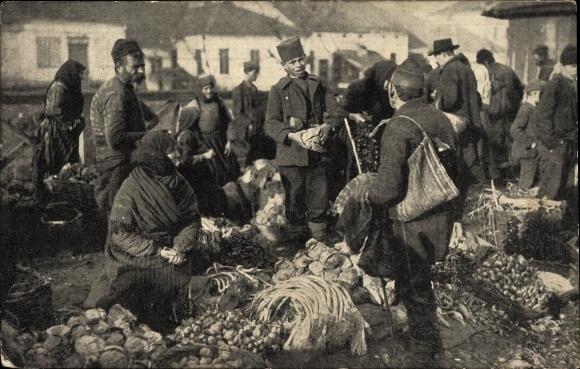 Ak Serbien, Serbisches Volksleben, Gemüsemarkt in einem Ort