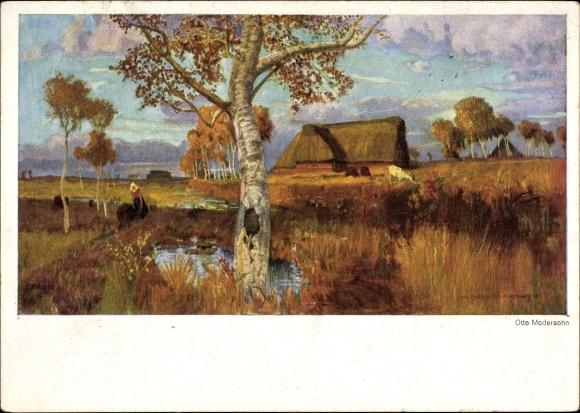 Künstler Ak Modersohn, Otto, Landschaft mit Bauernhaus