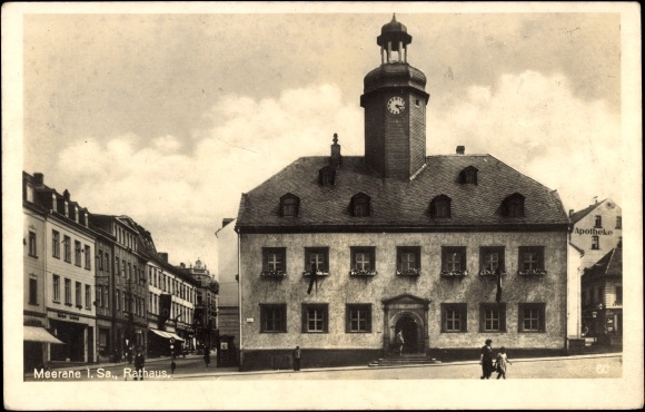 Ak Meerane in Sachsen, Blick auf das Rathaus, Marktplatz, Möbel, Apotheke