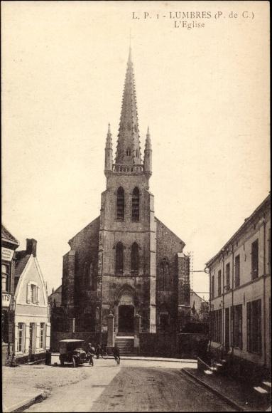 Ak Lumbres Pas de Calais, vue générale de l'Eglise