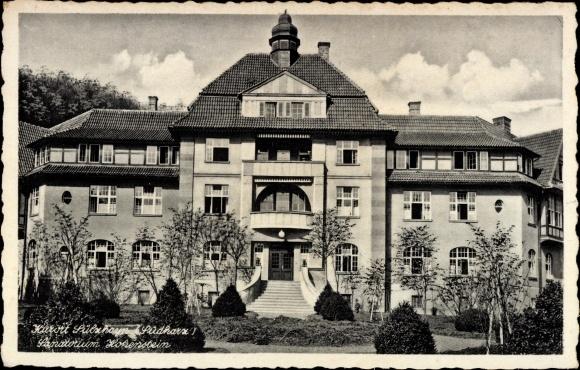 Ak Sülzhayn Ellrich Südharz, Kurort, Der Eingang des Sanatoriums Hohenstein