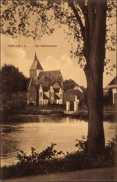 Ak Mölln im Herzogtum Lauenburg, Partie am Mühlenteich