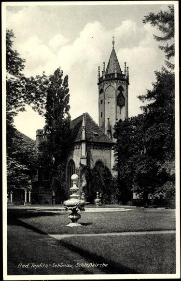 Ak Teplice Teplitz Schönau Reg. Aussig, Schlosskirche, Gartenanlagen