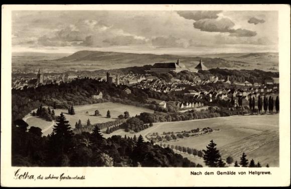 Künstler Ak Hellgrewe, Gotha Thüringen, Gesamtansicht des Ortes