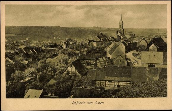 Ak Roßwein, Blick auf den Ort von Osten gesehen, Kirche, Felder