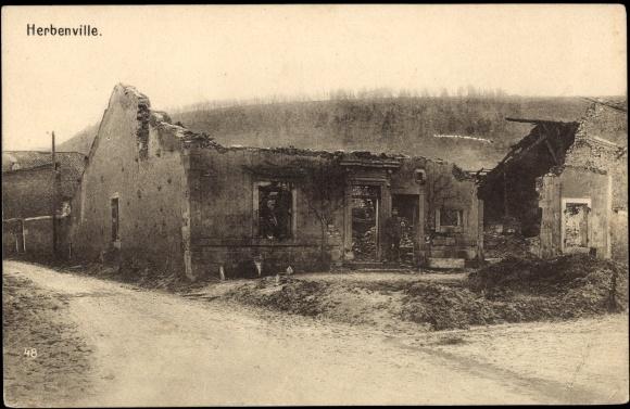 Ak Herbenville Yvelines, Ansicht eines zerstörten Hauses
