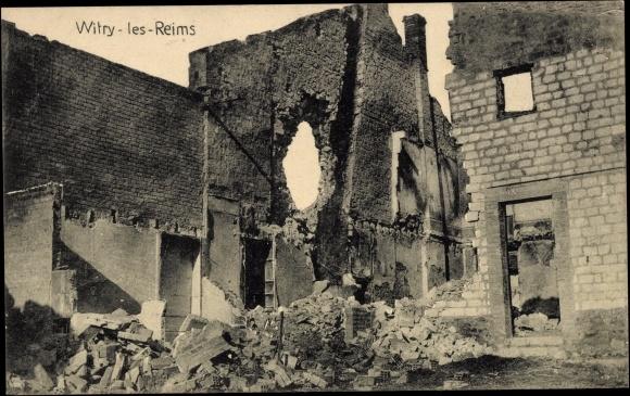 Ak Witry les Reims Marne, Ansicht eines zerstörten Hauses