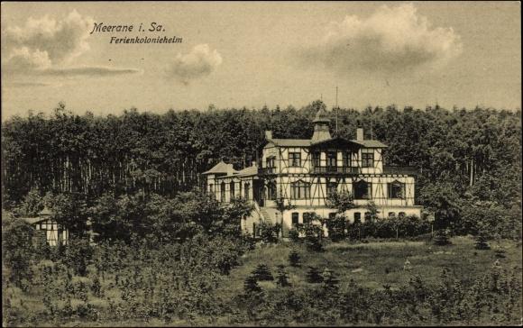 Ak Meerane Sachsen, Blick auf das Ferienkolonieheim, Fachwerkhaus, Wald