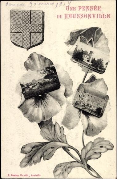 Ak Haussonville Meurthe et Moselle, Panorama, Vue de l'Église, des fleurs