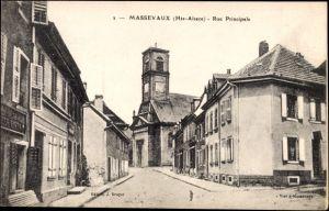 Ak Massevaux Elsass Haut Rhin, Rue Principale, Blick auf die Kirche