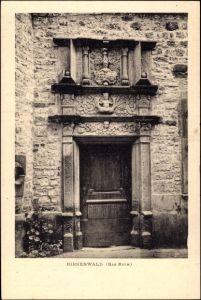 Ak Birkenwald Bas Rhin, Blick auf den Eingang von einem Haus, Fassade, Relief