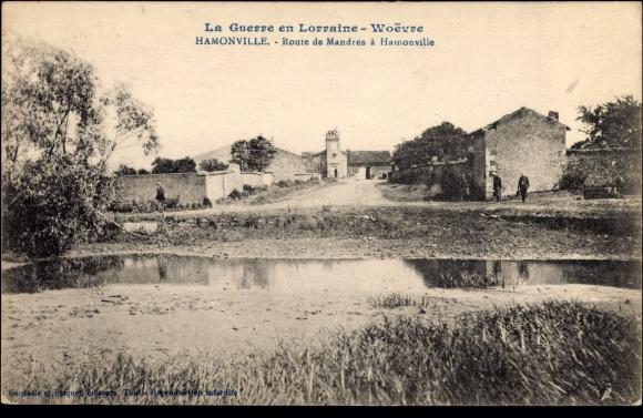 Ak Hamonville Meurthe et Moselle Lothringen Elsaß, Route Mandres