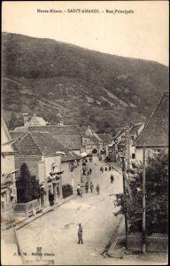 Ak Saint Amarin Haut Rhin Lothringen Elsass, Rue Principale, Straßenpartie