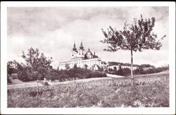 Ak Heiligenberg Reg. Olmütz Tschechien, Blick auf die Residenz und Basilika