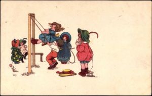 Künstler Ak Kinder beim Schaukeln, Springseil, Nachziehpferd, gelber Hut