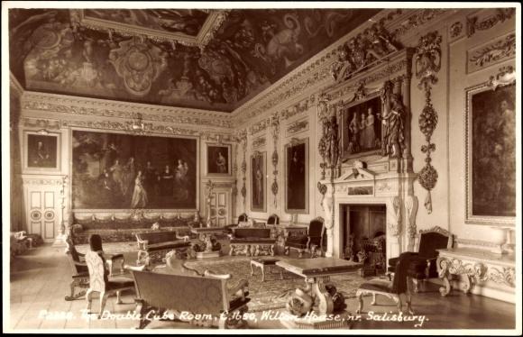 Ak Salisbury South West England, Double Cube Room, Wilton House, Gemälde