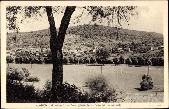Ak Maron Meurthe et Moselle, Vue generale et vue sur la Moselle, Kirche