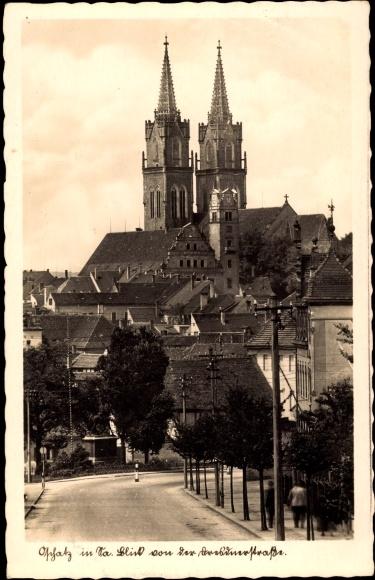 Ak Oschatz in Nordsachsen, Blick von der Dresdner Straße, St. Aegidien Kirche