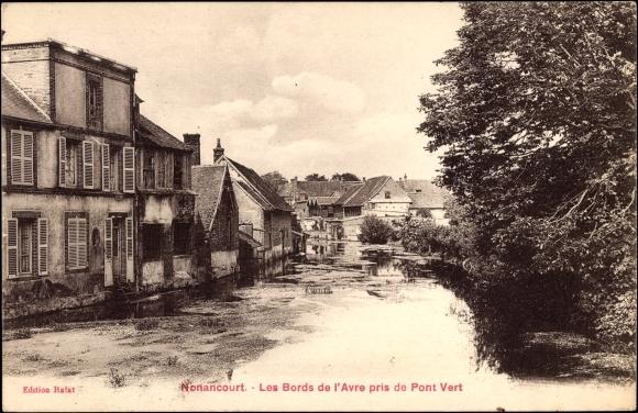 Ak Nonancourt Eure, Les Bords de l'Avre pris de Pont Vert