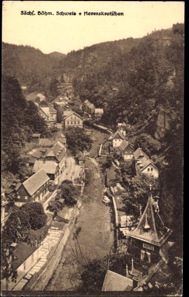 Ak Hřensko Herrnskretschen Elbe Reg. Aussig, Sächs. Böhm. Schweiz, Ort von oben