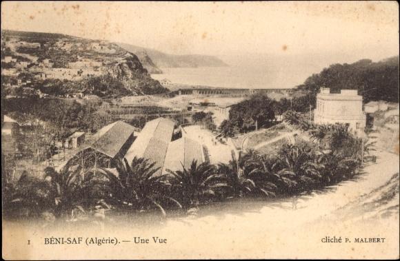 Ak Béni Saf Algerien, Une Vue, Hallen, Blick zum Wasser hin