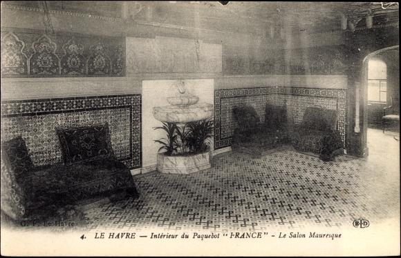 Genial Ak Le Havre, Paquebot France, Intérieur, Salon Mauresque 0