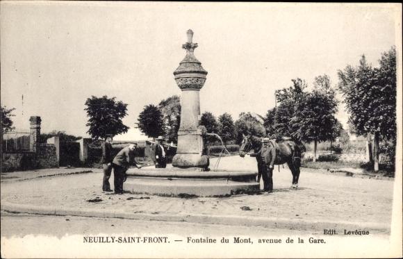 Ak Neuilly Saint Front Aisne, Fontaine du Mont, avenue de la Gare