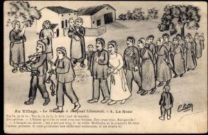 Künstler Ak Au Village, Le Mariage à Jacquet Lhoumia, La Noce