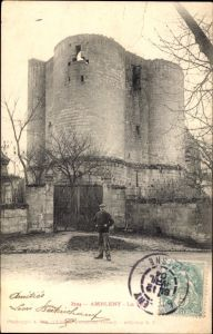 Ak Ambleny Aisne, La Tour, Alter Turm, Eingangstor